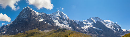 Panorama view of Eiger, Monch and Jungfrau Royalty Free Stock Images