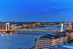 Panorama View on Elisabeth Bridge and Budapest,bridge connecting Stock Photos