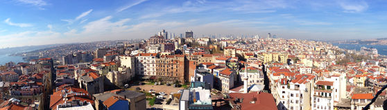 Panorama view of the European side of Istanbul Stock Images