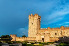 Castle of La Mota in Medina del Campo at dusk. Panorama view of the famous castle Castillo de la Mota in Medina del Campo at dusk, Valladolid. This reconstructed Royalty Free Stock Photos