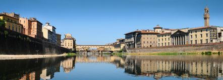 Panorama view of famous Old Bridge Ponte Vecchio as seen from under the Bridge Ponte alle Grazie. Florence. Royalty Free Stock Photography