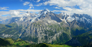 Panorama view of the famous peaks: Eiger, Monch and Jungfrau of Royalty Free Stock Photos