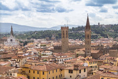 Panorama view of Florence from Santa Maria del Fiore church, Ita. Panorama view of Florence from Santa Maria del Fiore on old city, Italy Stock Images