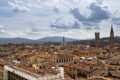 Panorama view of Florence from Santa Maria del Fiore church, Ita. Panorama view of Florence from Santa Maria del Fiore on old city, Italy Royalty Free Stock Photos