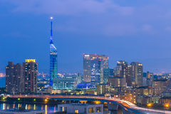 Panorama view of Fukuoka cityscape in Kyushu, Japan. Stock Image