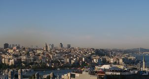 Panorama View of Galata and the Bosphorus, as seen from Suleymaniye Mosque in Istanbul, Turkey Stock Image