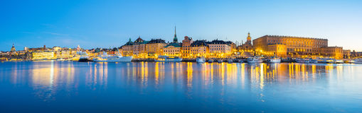 Panorama view of Gamla Stan skyline in Stockholm city, Sweden Stock Photo