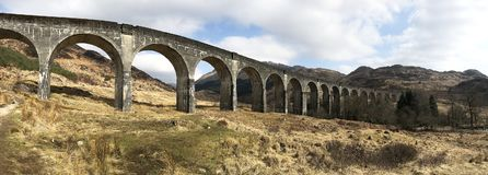 Panorama view of Glenfinnan Viaduct royalty free stock images