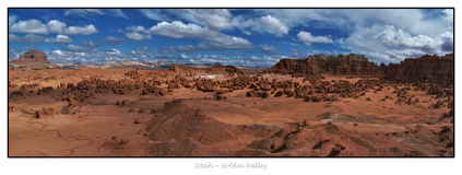 Panorama view of Goblin Valley Stock Images