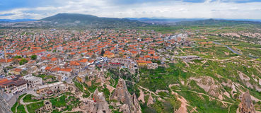 Panorama view  of Goreme village in Cappadocia, Central Anatolia Stock Photos
