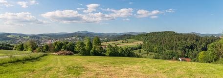 Panorama view of Grafenau in the bavarian forest with mountains small and big Rachel and mountain Lusen Stock Image