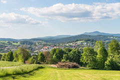 Panorama view of Grafenau in the bavarian forest with mountains small and big Rachel and mountain Lusen Royalty Free Stock Images