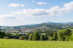 Panorama view of Grafenau in the bavarian forest with mountains small and big Rachel and mountain Lusen Stock Photography