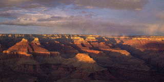 Panorama view of the Grand Canyon at sunset. Panoramic view of the sunset at Grand Canyon National Park in Arizona Royalty Free Stock Photos