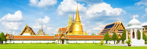 Panorama view of Grand palace and Wat phra keaw or Emerald Buddha in Bangkok royalty free stock photography