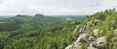 Panorama view of green rocky scenery in dresden Royalty Free Stock Image