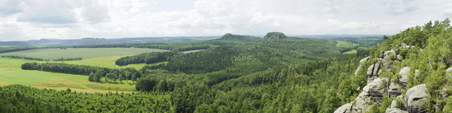 Panorama view of green rocky scenery in europe. Stock Photography