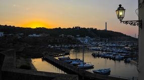 Panorama view of the harbor from the basilica Santa Maria Di Leuca, after summer, sunset. royalty free stock images