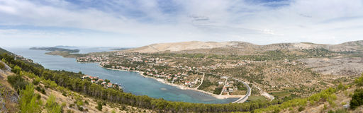 Panorama view from the hill on Dalmatian coast Royalty Free Stock Photos