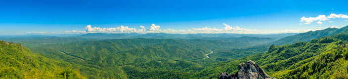 Panorama view of hills and mountain range with river. Panorama view of hills and mountain range full of green tree with river through valley and clear blue sky royalty free stock photos