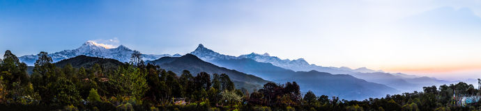 Panorama view of the Himalayan mountain range from Pothana, Nepal Royalty Free Stock Photos