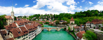 Panorama view of historical old town city Bern Royalty Free Stock Images