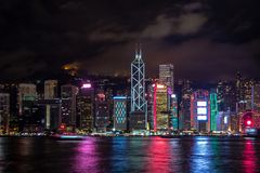 Panorama view of Hong kong city midtown at dusk with skyscrapers illuminated reflecting in the river stock photo