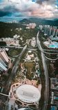 Panorama View Of Hong Kong City From the Sky Stock Image