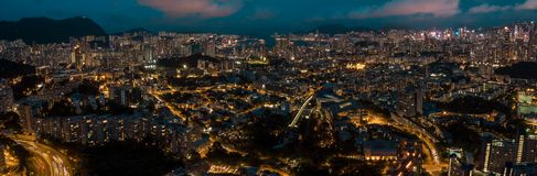Panorama View Of Hong Kong City From the Sky Stock Photo