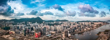 Panorama View Of Hong Kong City From the Sky Stock Photos