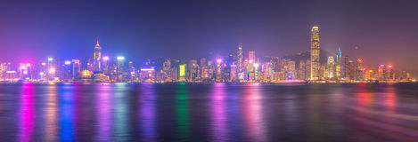 Panorama view of Hong kong downtown stock images