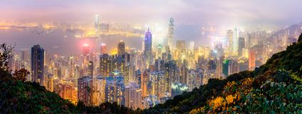 Panorama view of Hongkong from the peak stock image