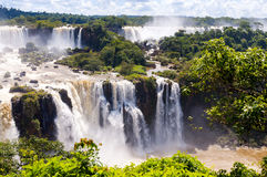 Panorama view Iguassu Falls, waterfall in Brazil Royalty Free Stock Photo