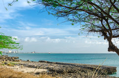 Panorama view of the image taken from Malmok Beach. Aruba, in the Caribbean Sea Stock Photo