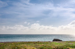 Panorama view of the image taken from Malmok Beach. Aruba, in the Caribbean Sea Royalty Free Stock Images