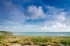Panorama view of the image taken from Malmok Beach. Aruba, in the Caribbean Sea Royalty Free Stock Photo