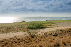 Panorama view of the image taken from Malmok Beach Stock Photo