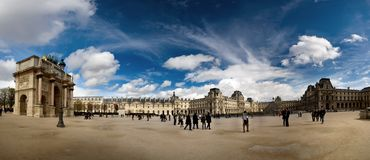 Panorama view of the inner court  the Louvre museum. The  is one  the world`s largest museums and the most popular tourist destina. Panorama view of the inner Stock Photo