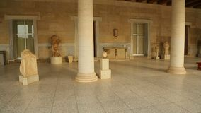 Panorama view inside restored Stoa of Attalos, Ancient Agora, archeology museum. Stock footage stock footage