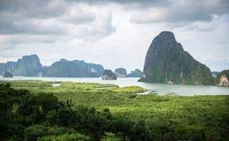 Panorama view of island inside sea near green bay Royalty Free Stock Photography
