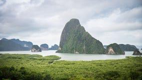Panorama view of island inside sea near green bay Royalty Free Stock Image