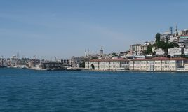 Panorama View of Istanbul Galata and Beyoglu as seen from the Bosphorus Strait, Turkey Stock Images