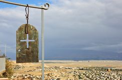 Panorama view of Jericho and cross symbol . The Monastery of the Temptation. Jericho, Palestinian Royalty Free Stock Photos