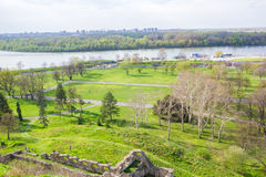 Panorama view of Kalemegdan fortress and green park in Belgrade Stock Photos