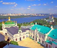 Panorama view Kiev Pechersk Lavra. Christian monastery, orthodox churches royalty free stock photos