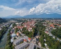 Panorama view of Kranj, Slovenia, Europe. Kranj in Slovenia with St. Cantianus Church in the foreground and the Kamnik Alps behind stock image