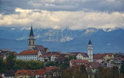 Panorama view of Kranj, Slovenia. With mountains covered by clouds on foreground Stock Photo