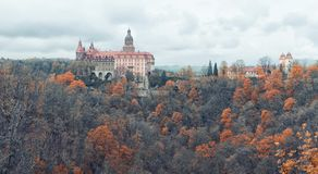 Panorama View of Ksiaz Furstenstein castle near Walbrzych in Pol Stock Images