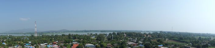 Panorama view of Kwai river with non-urban. In Thailand royalty free stock photos