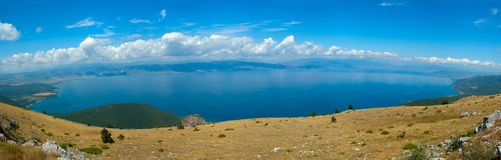 Panorama view at Lake. Beautifull panorama view from tha National Park Galicica at Ohrid lake, located in Macedonia Royalty Free Stock Image